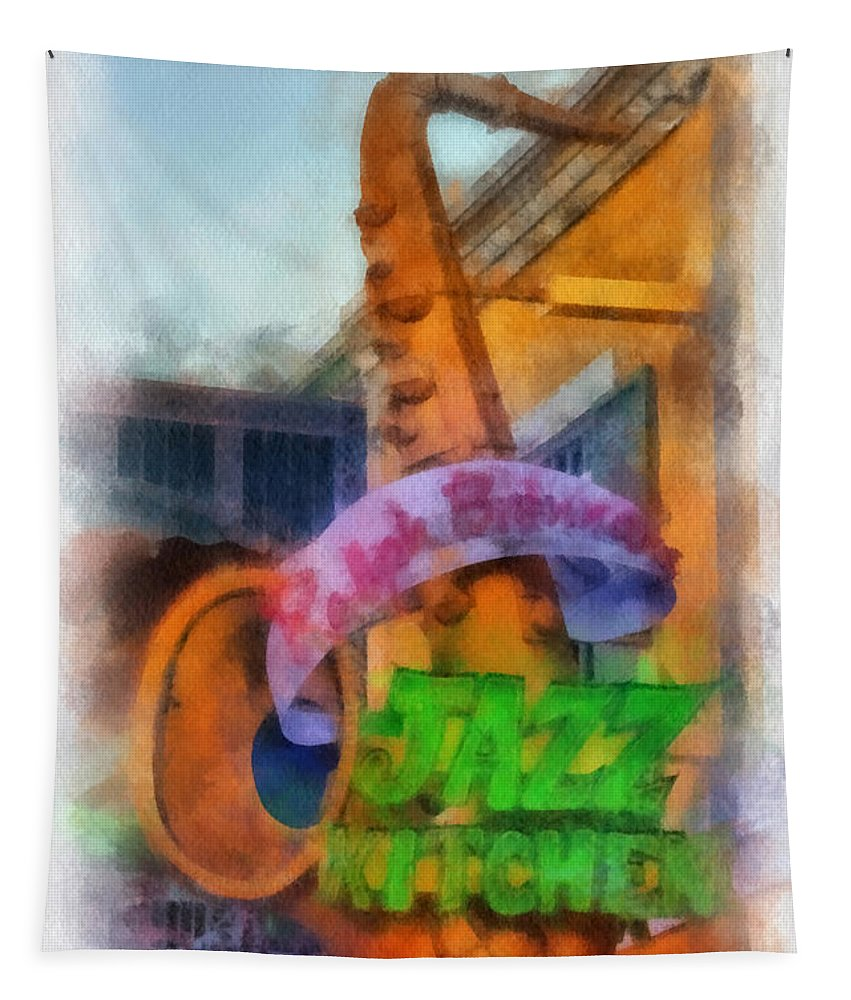 Disney Tapestry featuring the photograph Jazz Kitchen Signage Downtown Disneyland Photo Art 01 by Thomas Woolworth