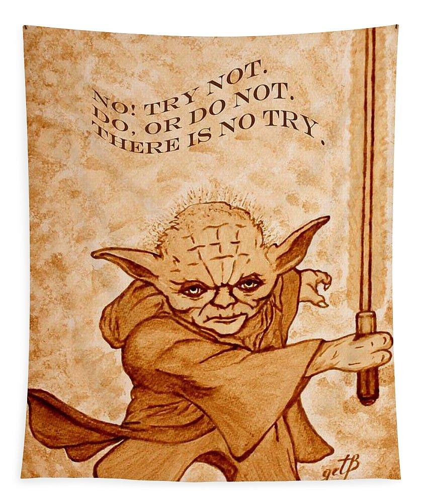 Master Yoda Sayings Tapestry featuring the painting Jedi Yoda Wisdom by Georgeta Blanaru