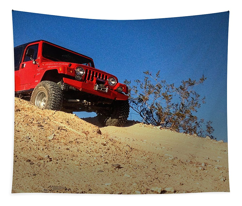 Jeep Tapestry featuring the photograph Jeepin' The Mojave by Bill Swartwout Fine Art Photography