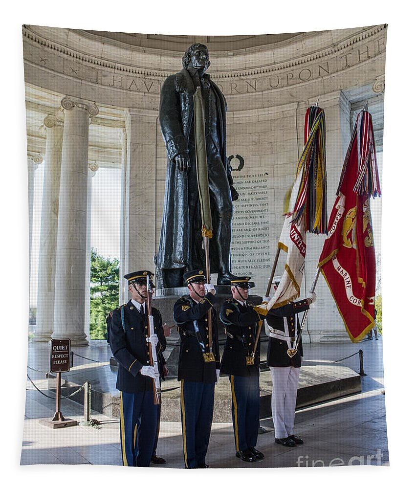 Jefferson Memorial Tapestry featuring the photograph Jefferson Color Guard by Jerry Fornarotto