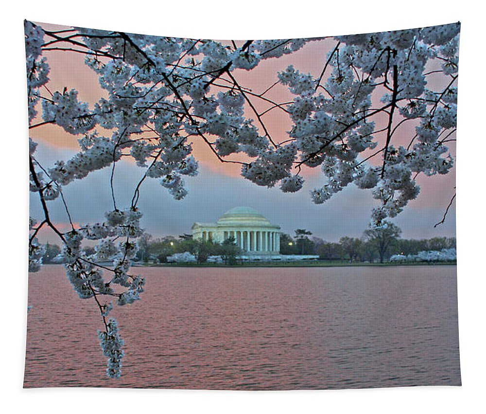 Tidal Basin Tapestry featuring the photograph Jefferson Memorial Cherry Blossoms by Suzanne Stout