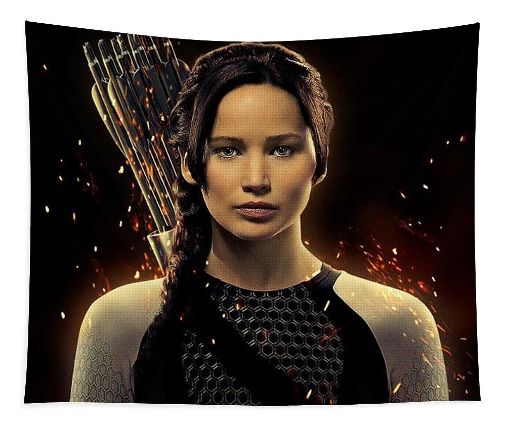 Jennifer Shrader Lawrence Tapestry featuring the digital art Jennifer Lawrence As Katniss Everdeen by Movie Poster Prints