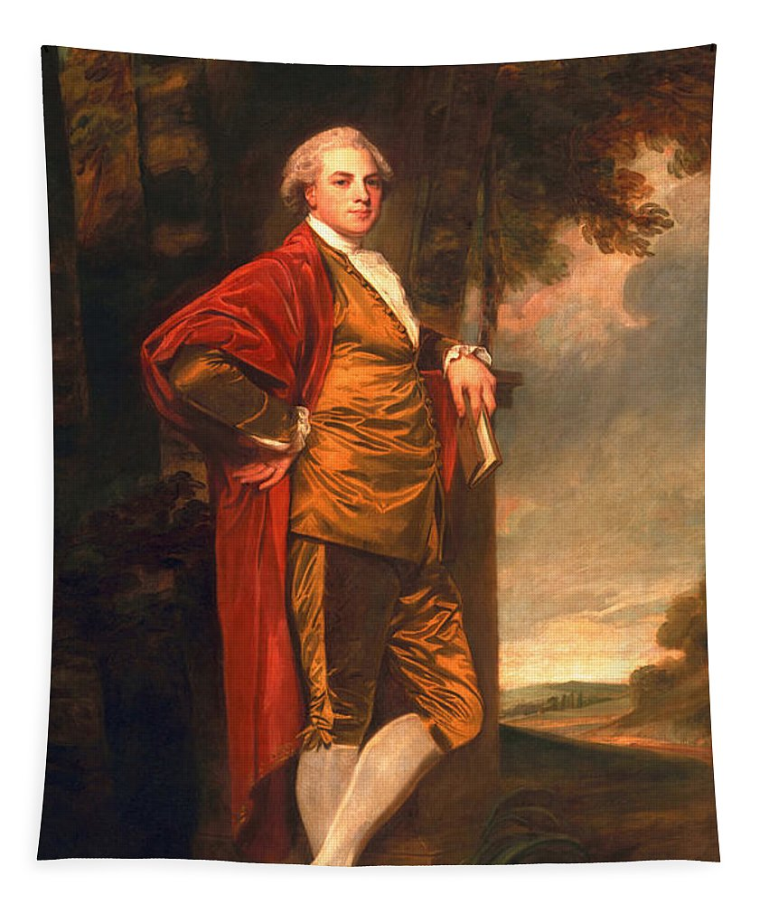 Male Tapestry featuring the painting Jeremiah Milles, 1780-83 by George Romney