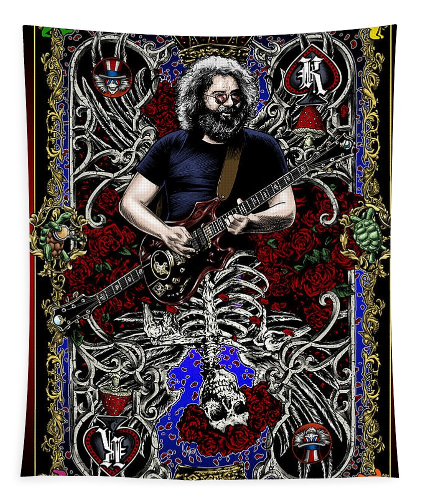 Jerry Garcia Tapestry featuring the painting Jerry Card by Gary Kroman