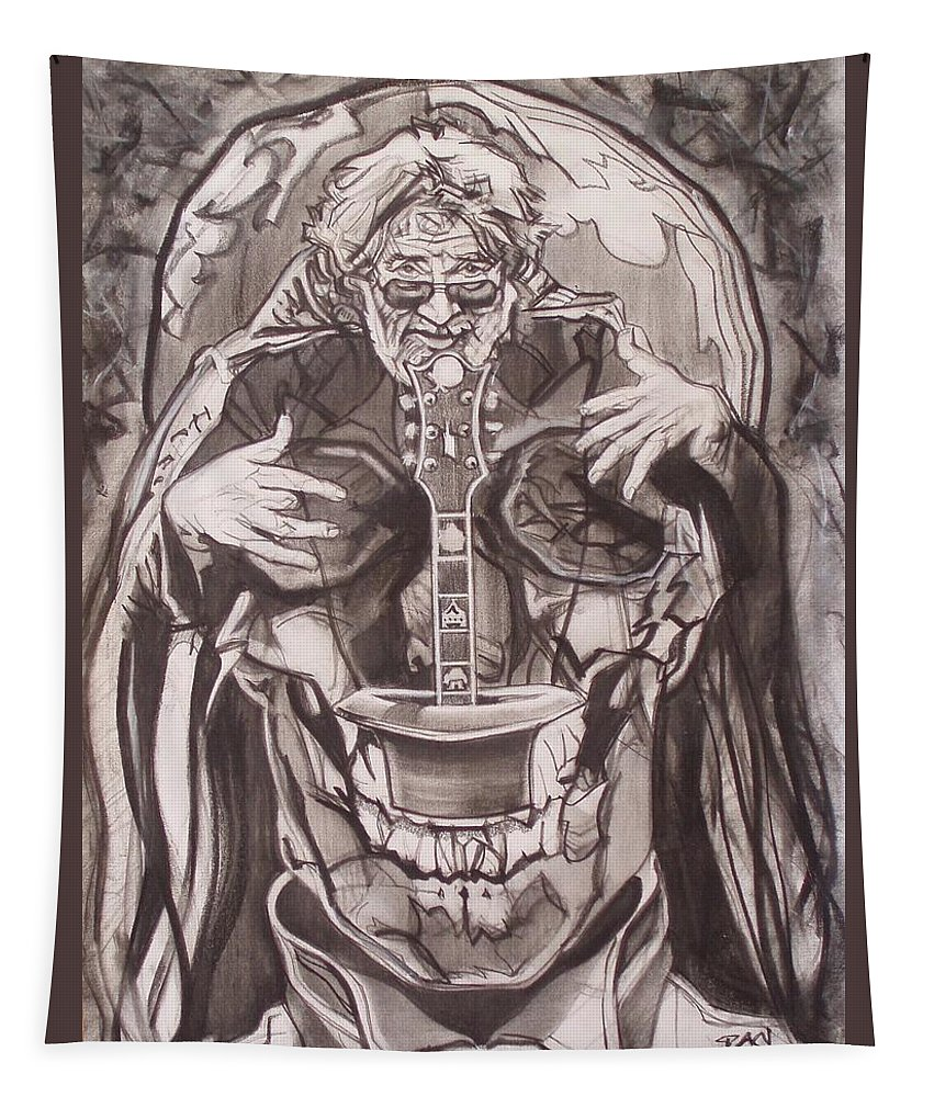 Charcoal Tapestry featuring the drawing Jerry Garcia . . Magic Is What We Do - Music Is How We Do It by Sean Connolly