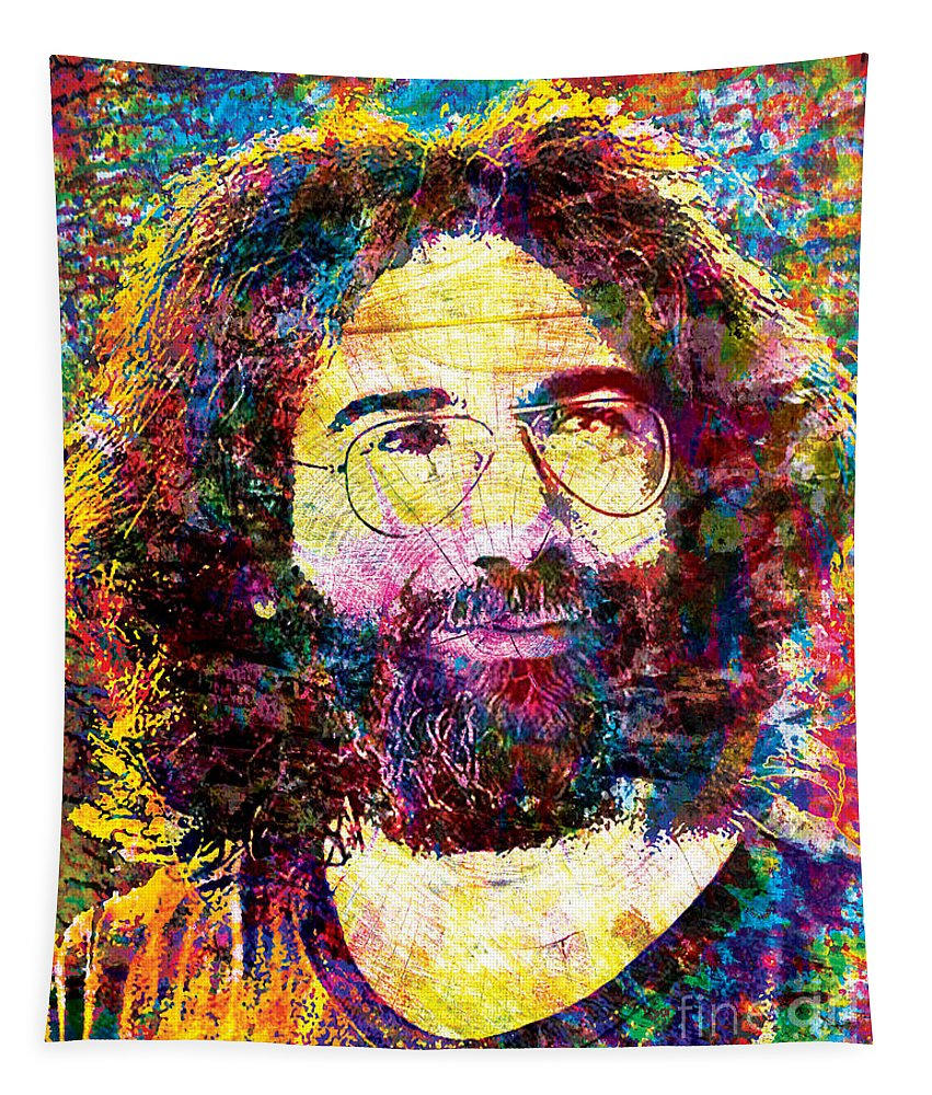 Art Tapestry featuring the mixed media Jerry Garcia The Grateful Dead by Ryan Rock Artist