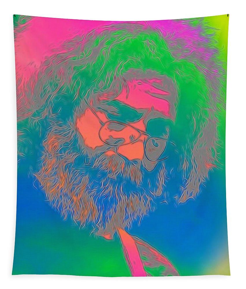 Jerry Garcia Tie Dye Tapestry featuring the digital art Jerry Garcia Tie Dye by Dan Sproul