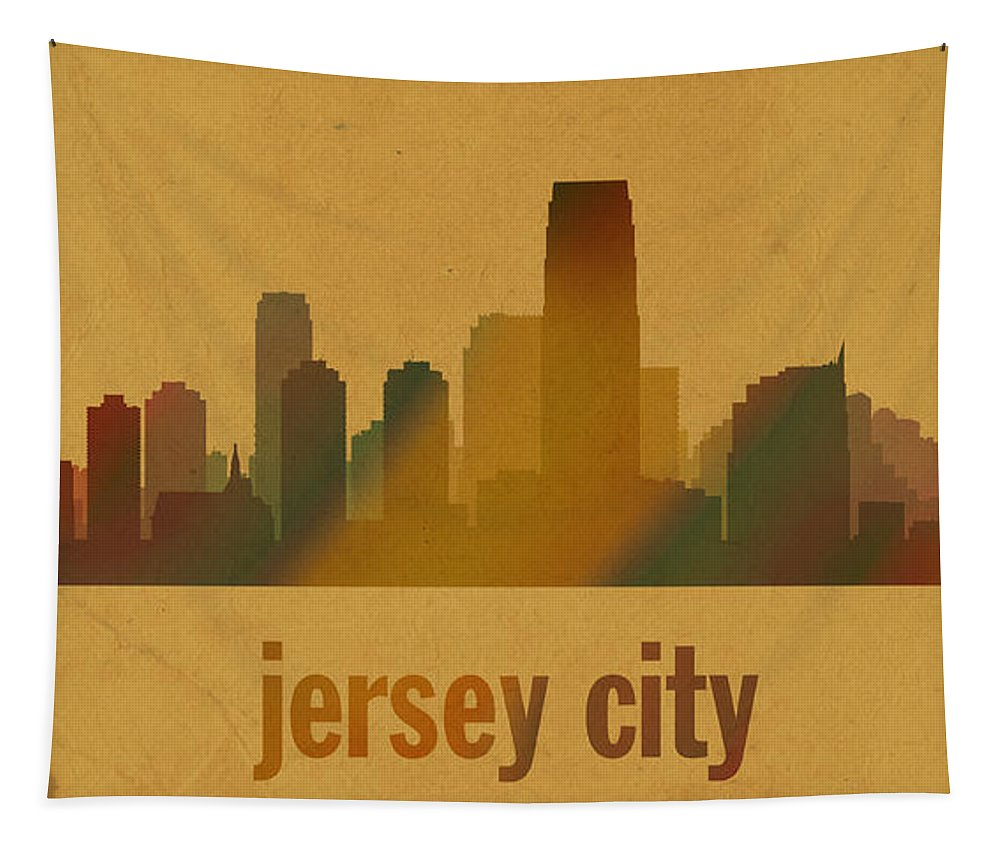 Jersey City Tapestry featuring the mixed media Jersey City New Jersey City Skyline Watercolor On Parchment by Design Turnpike