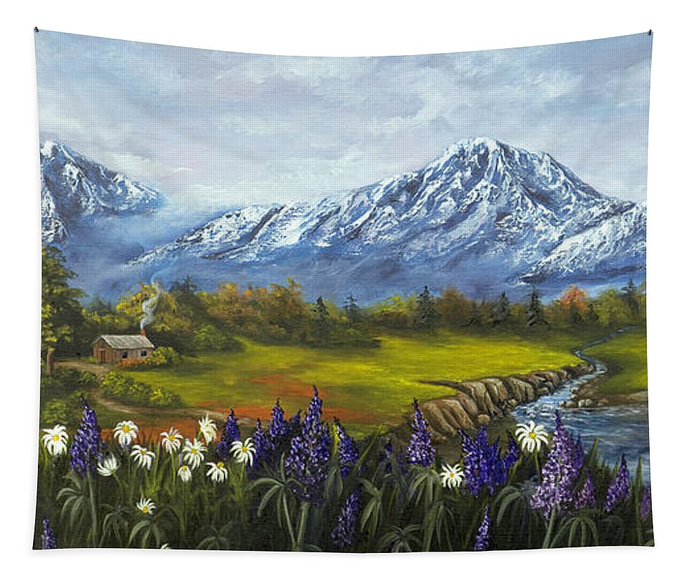 Landscape Tapestry featuring the painting Jessy's View by Darice Machel McGuire