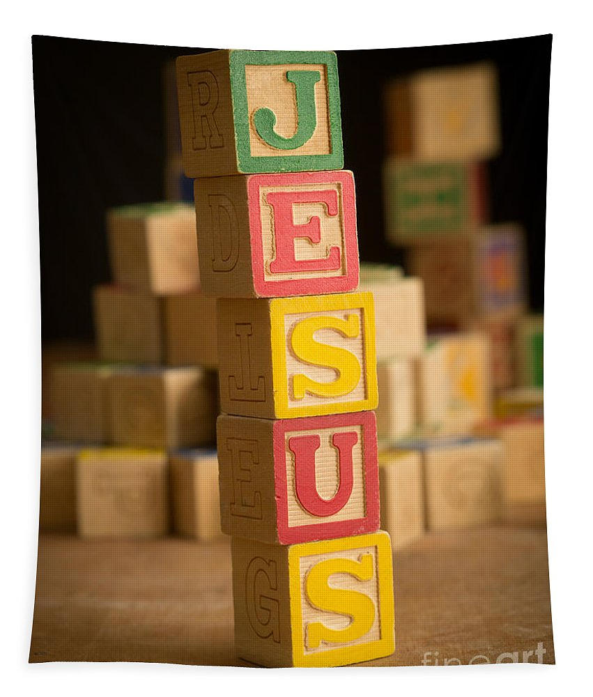 Alphabet Tapestry featuring the photograph Jesus - Alphabet Blocks by Edward Fielding