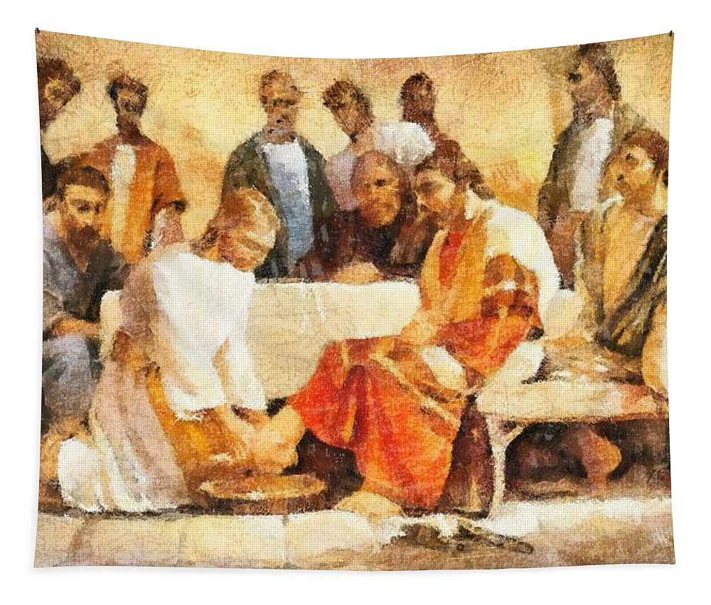 Jesus Washing Apostle's Feet Tapestry featuring the painting Jesus Washing Apostle's Feet by Dan Sproul