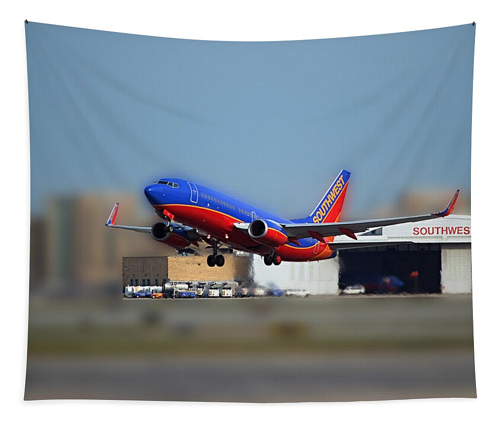 Passenger Plane Tapestry featuring the photograph Jet Chicago Airplanes 17 by Thomas Woolworth