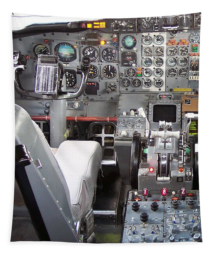Transportation Tapestry featuring the photograph Jet Cockpit by Thomas Woolworth