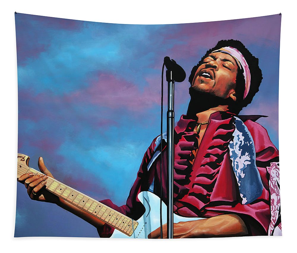 Jimi Hendrix Tapestry featuring the painting Jimi Hendrix 2 by Paul Meijering
