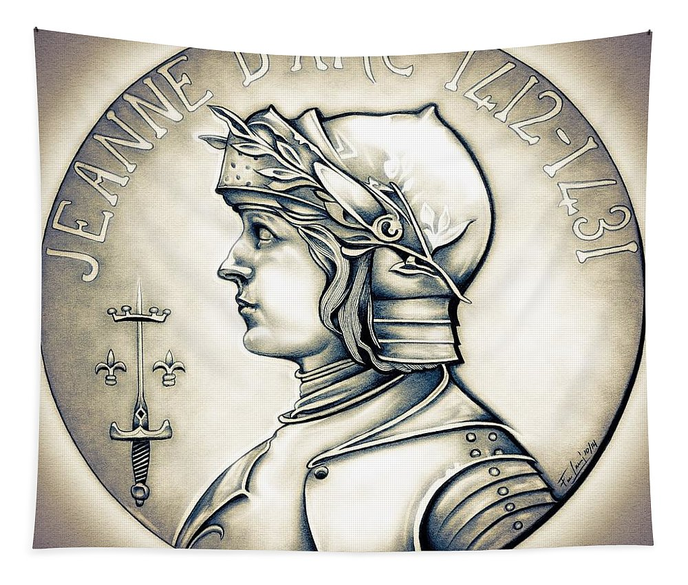Coin Tapestry featuring the drawing Joan Of Arc - Original by Fred Larucci