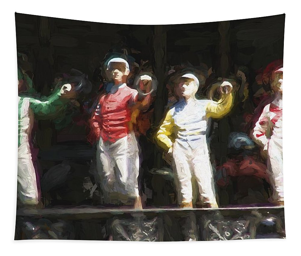 Jockeys Tapestry featuring the photograph Jockeys In A Row by Alice Gipson