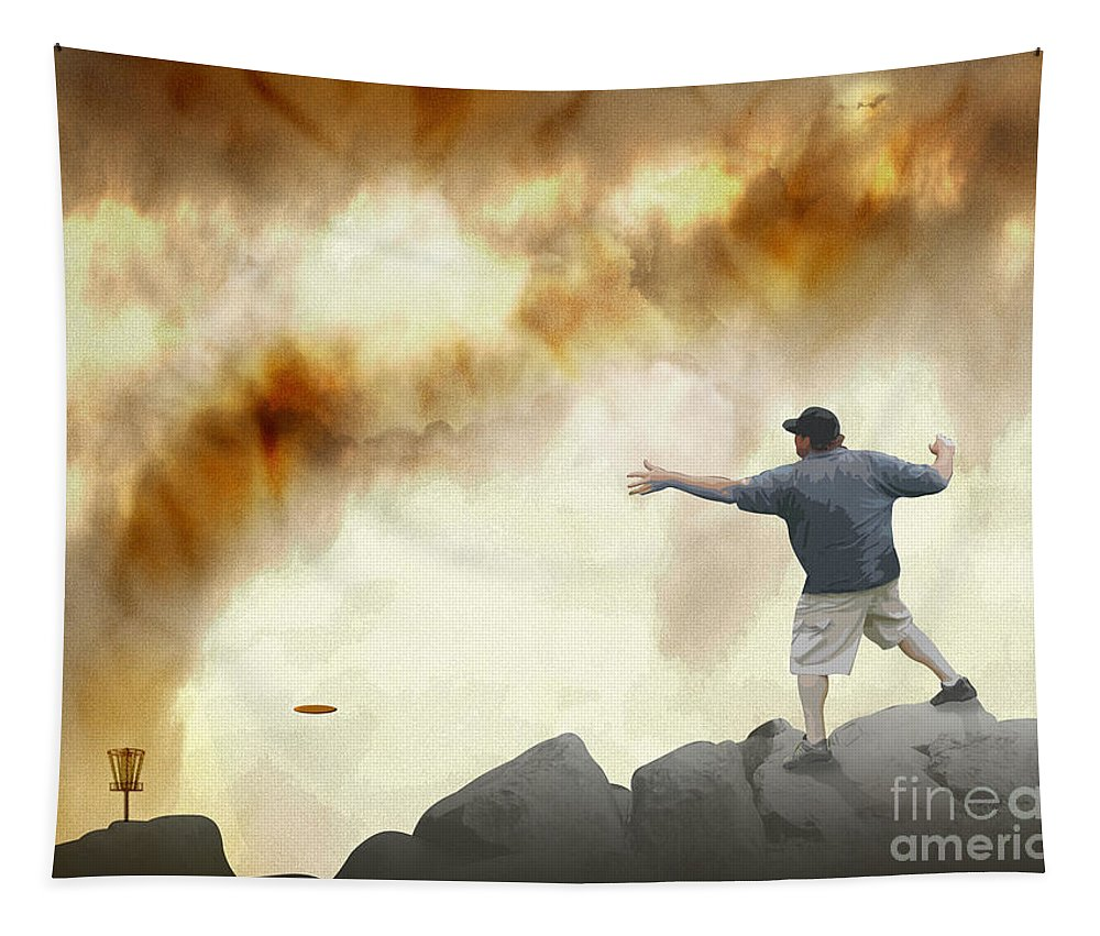 Sport Tapestry featuring the digital art Joe Vs. The Volcano by Phil Perkins