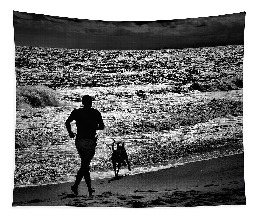 Silhouettes Tapestry featuring the photograph Joggin Wit Dad by Robert McCubbin