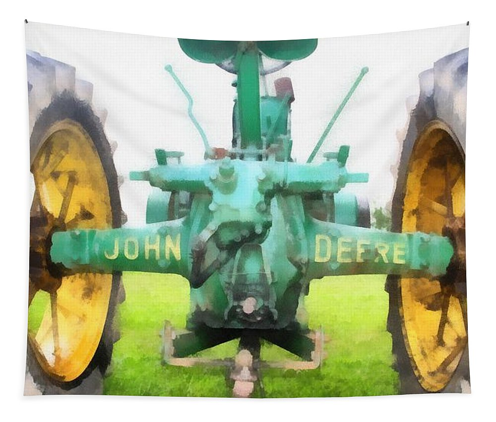 John Deere Tractor Tapestry featuring the painting John Deere Tractor by Dan Sproul