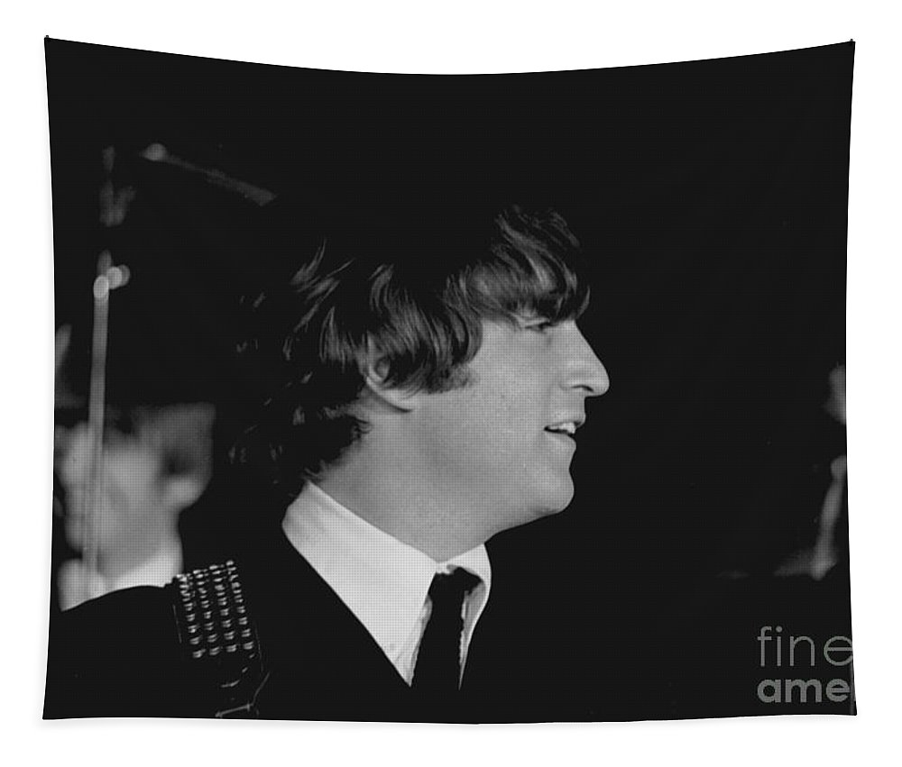 Beatles Tapestry featuring the photograph John Lennon, Beatles Concert, 1964 by Larry Mulvehill