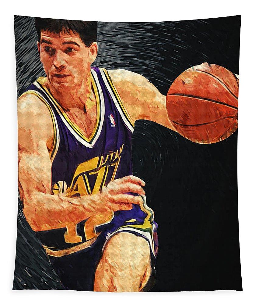 John Stockton Tapestry featuring the digital art John Stockton by Zapista OU