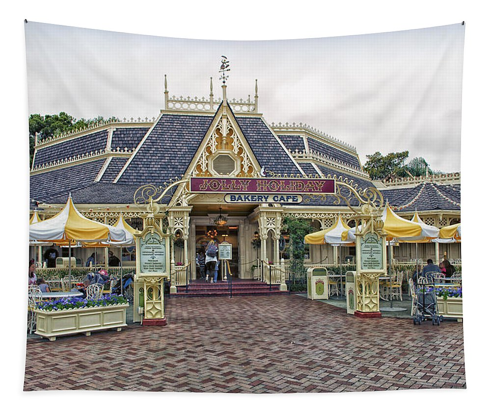 Disney Tapestry featuring the photograph Jolly Holiday Cafe Main Street Disneyland 01 by Thomas Woolworth