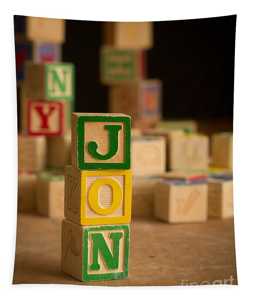 Alphabet Tapestry featuring the photograph Jon - Alphabet Blocks by Edward Fielding
