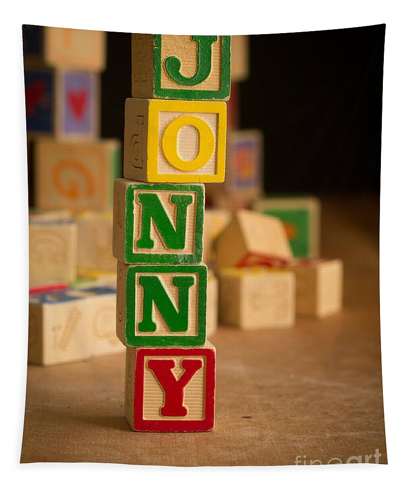 Alphabet Tapestry featuring the photograph Jonny - Alphabet Blocks by Edward Fielding