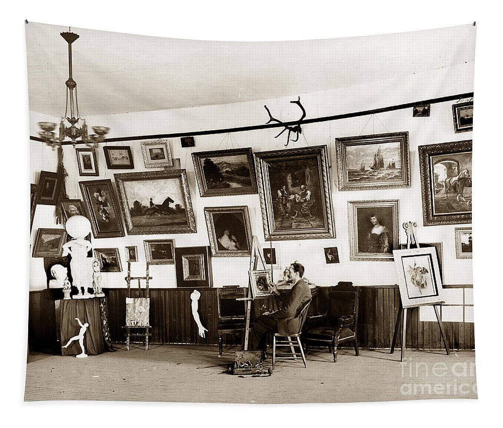 Joseph Kurtz Oliver Tapestry featuring the photograph Joseph Kurtz Oliver Artist In His Studio Monterey Circa 1905 by California Views Archives Mr Pat Hathaway Archives