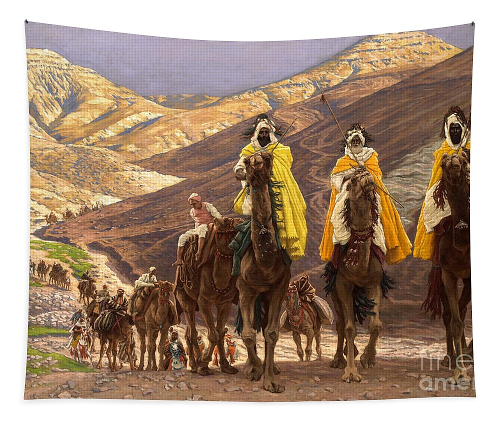 Christmas Tapestry featuring the painting Journey Of The Magi by Tissot
