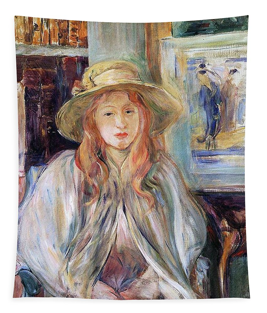 Female; Young Girl; Half Length; Seated; Impressionist; Interior; Domestic; Bookshelf; Shawl Tapestry featuring the painting Julie Manet With A Straw Hat by Berthe Morisot