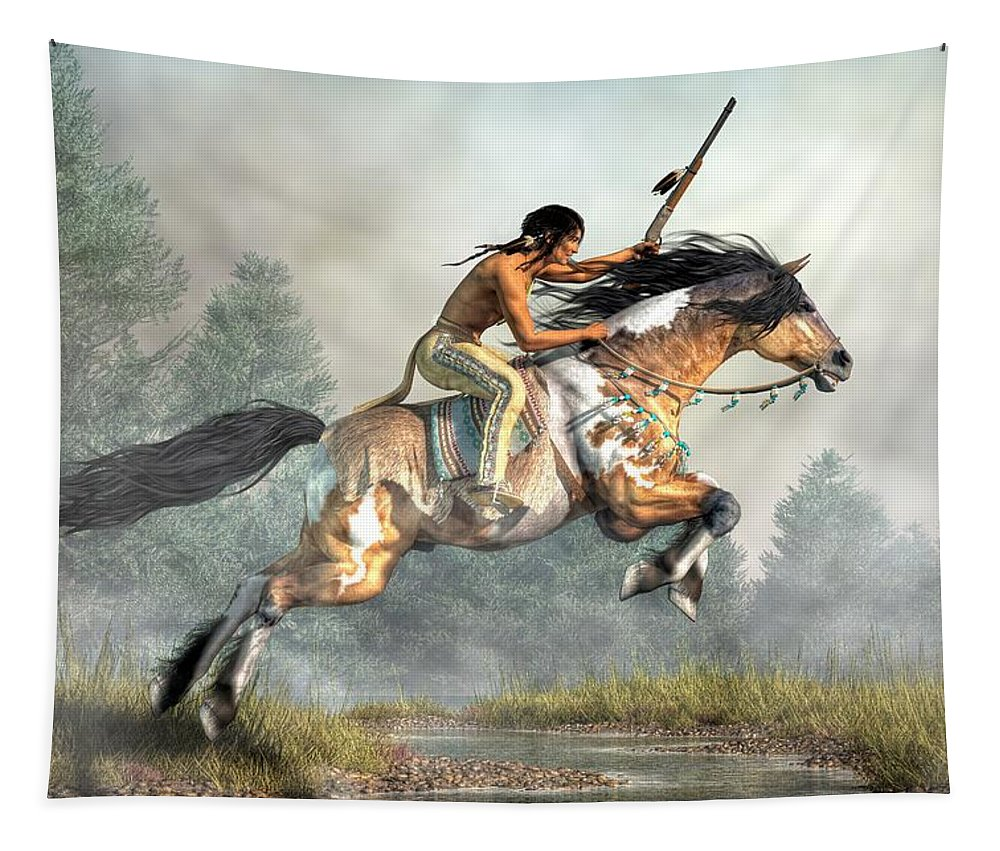 Jumping Horse Tapestry featuring the digital art Jumping Horse by Daniel Eskridge