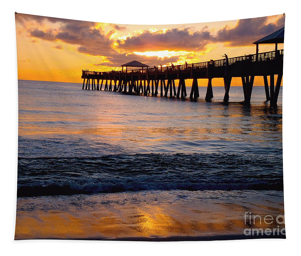 Pier Tapestry featuring the photograph Juno Beach Pier by Carey Chen