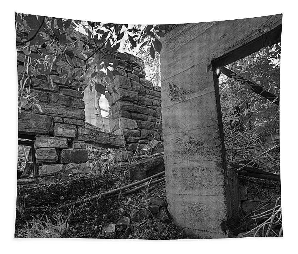 Abandoned Tapestry featuring the photograph Just Left There Jerome Black And White by Scott Campbell