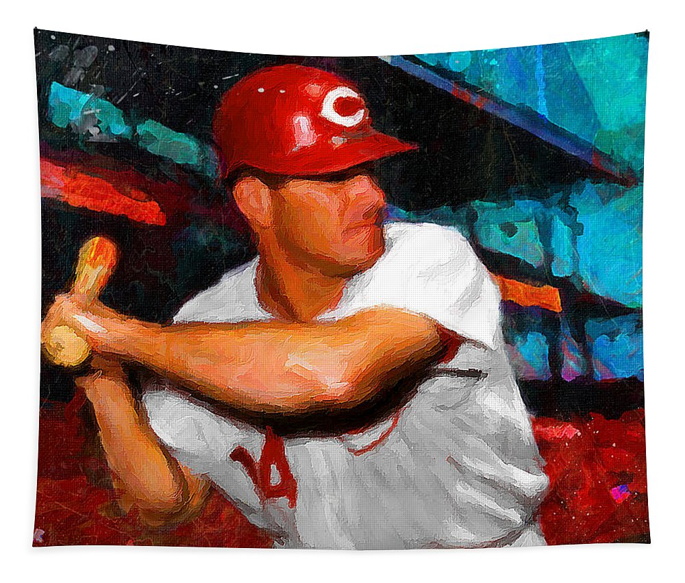 Pete Rose Tapestry featuring the painting Just Pete Rose by John Farr