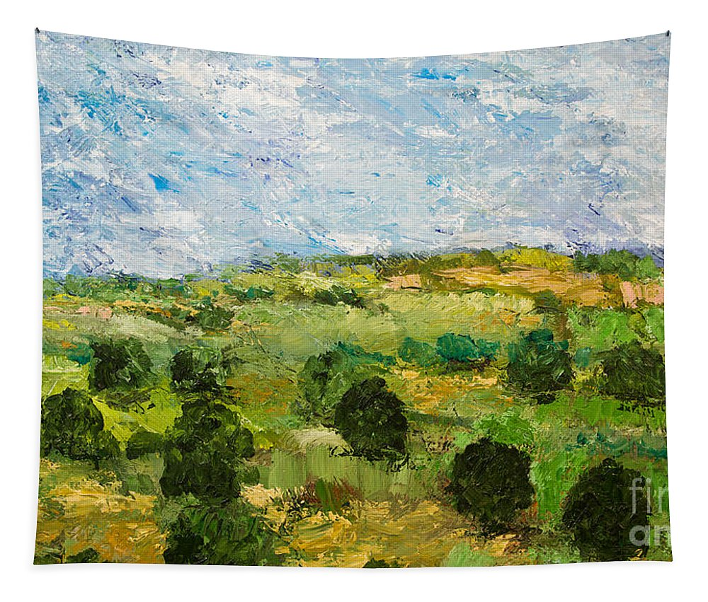 Landscape Tapestry featuring the painting Just Roll Along by Allan P Friedlander