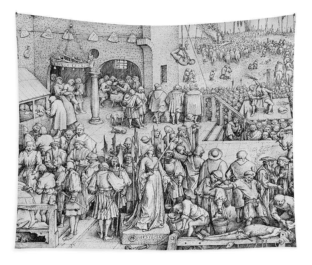 Male Tapestry featuring the painting Justice by Pieter the Elder Bruegel