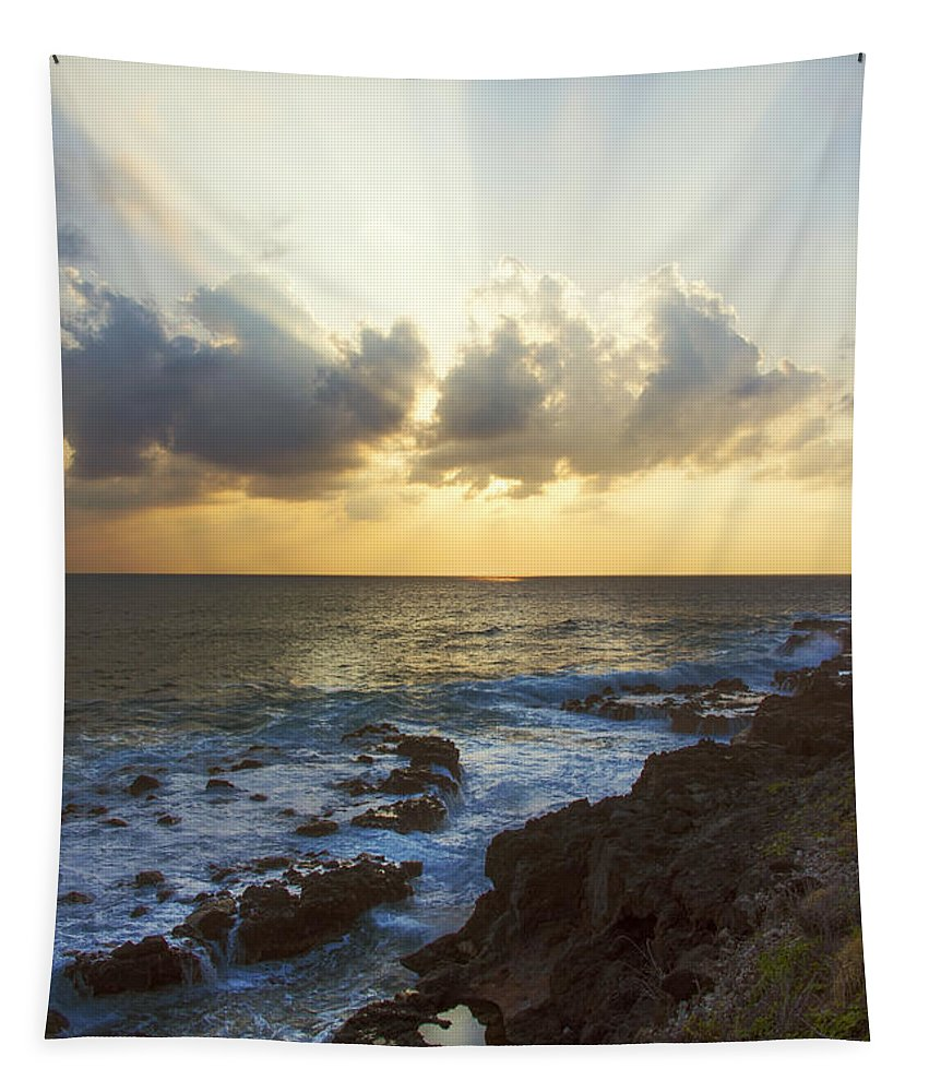 Kaena Point State Park Sunset Oahu Hawaii Tapestry featuring the photograph Kaena Point State Park Sunset 3 - Oahu Hawaii by Brian Harig