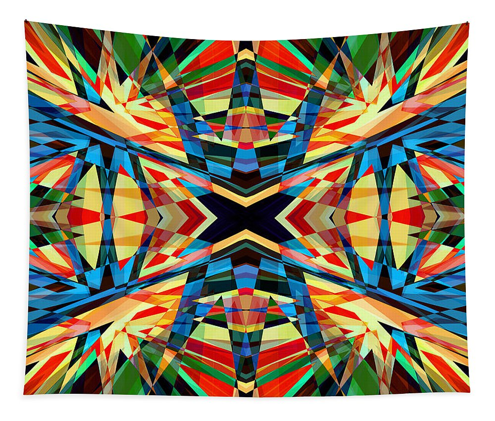 Red Tapestry featuring the digital art Kaleidoscope 2 by Steve Ball