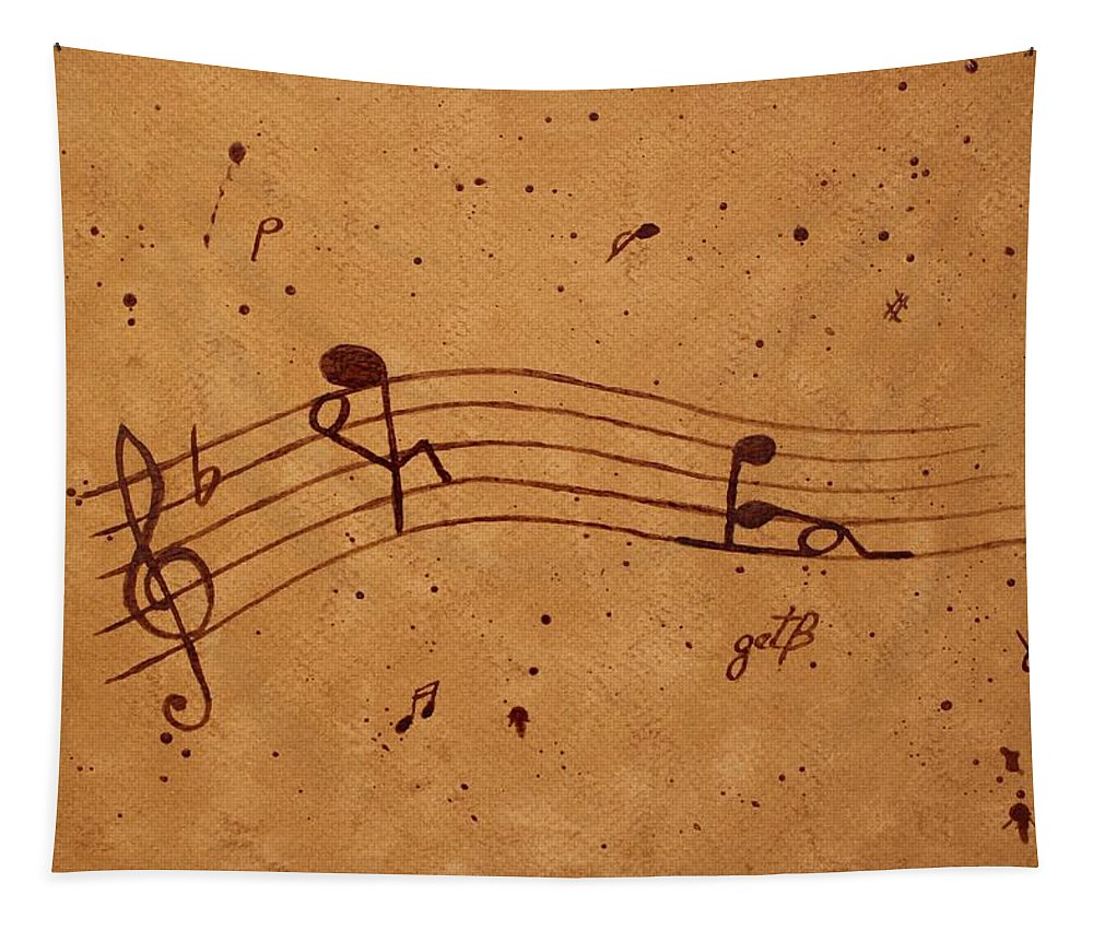 Abstract Music Tapestry featuring the painting Kamasutra Abstract Music 2 Coffee Painting by Georgeta Blanaru