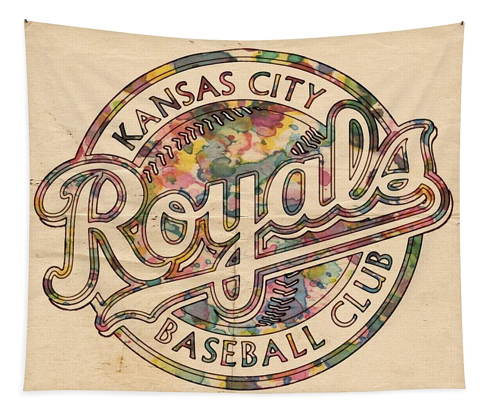 Kansas City Royals Tapestry featuring the painting Kansas City Royals Logo Vintage by Florian Rodarte