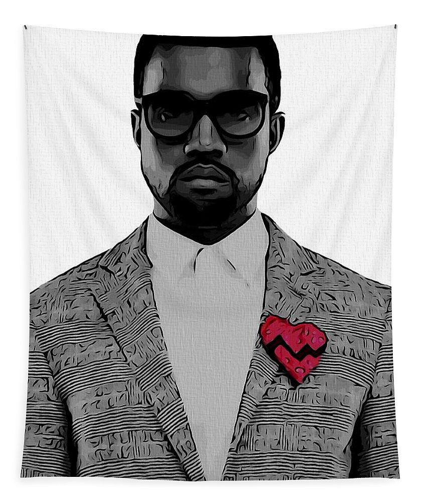 Kanye West Poster Tapestry featuring the digital art Kanye West by Dan Sproul