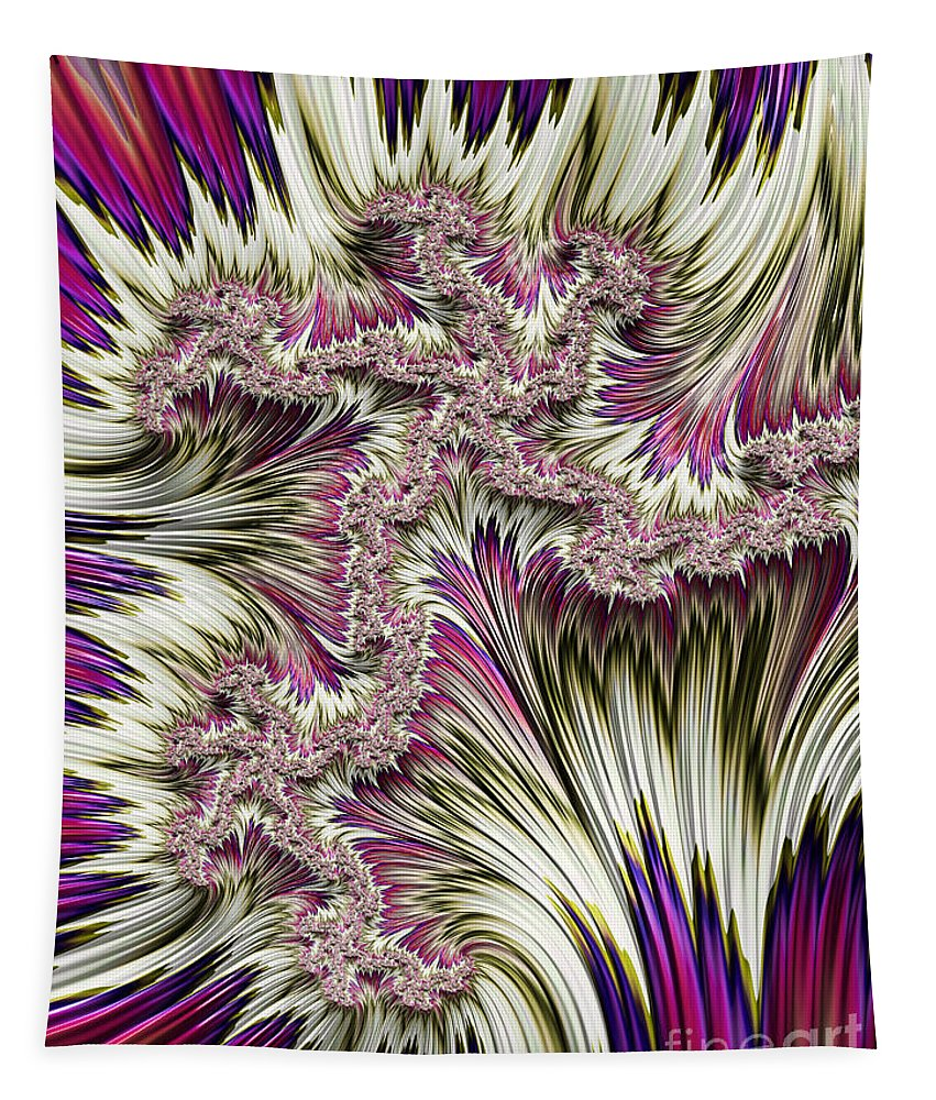 Abstract Fractal Canvas Tapestry featuring the digital art Kapow by John Edwards