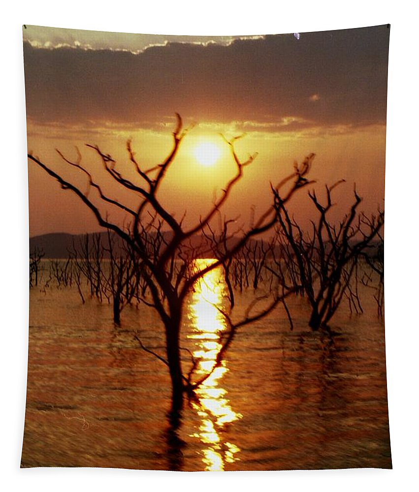 Sunset Tapestry featuring the photograph Kariba Sunset by Jeremy Hayden