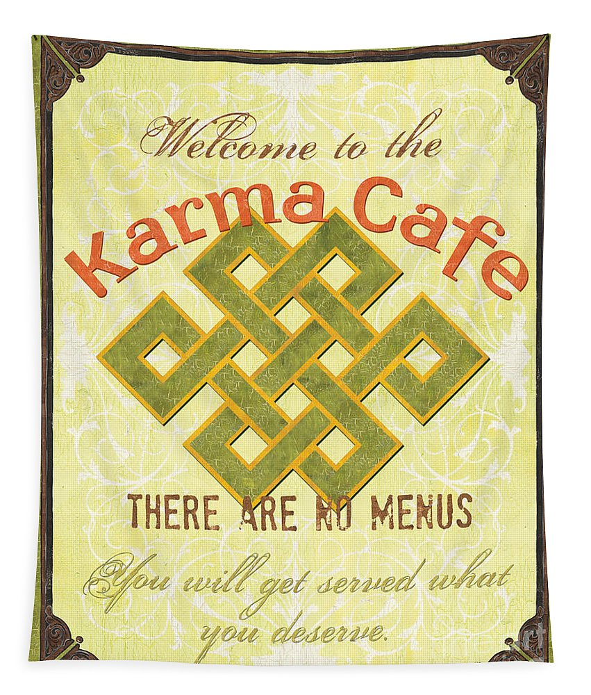 Karma Tapestry featuring the painting Karma Cafe by Debbie DeWitt