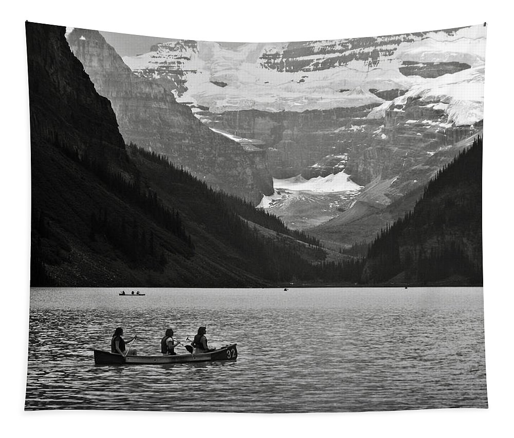 Lake Louise Tapestry featuring the photograph Kayak On Lake Louise by RicardMN Photography