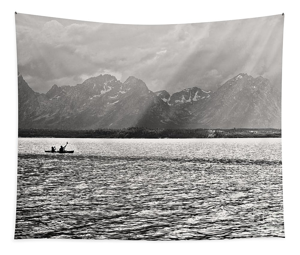 Kayaker Tapestry featuring the photograph Kayakers On Jackson Lake by Belinda Greb