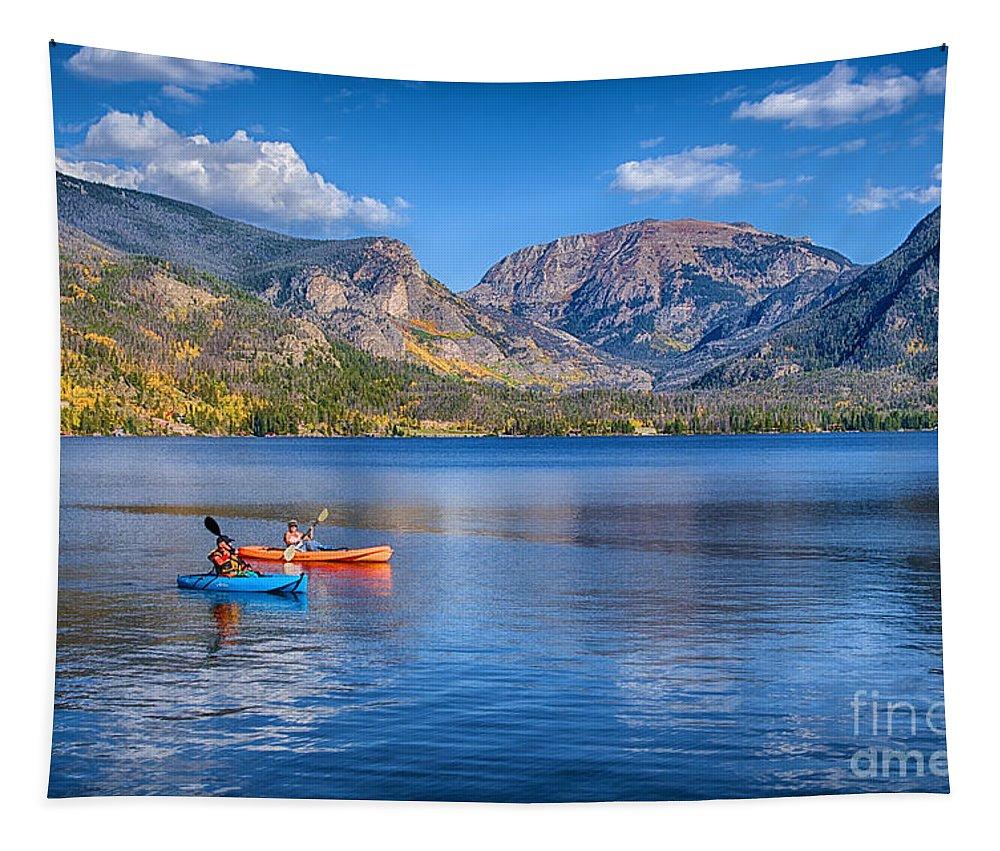 Kayaking Grand Lake Tapestry featuring the photograph Kayaking Grand Lake by Priscilla Burgers