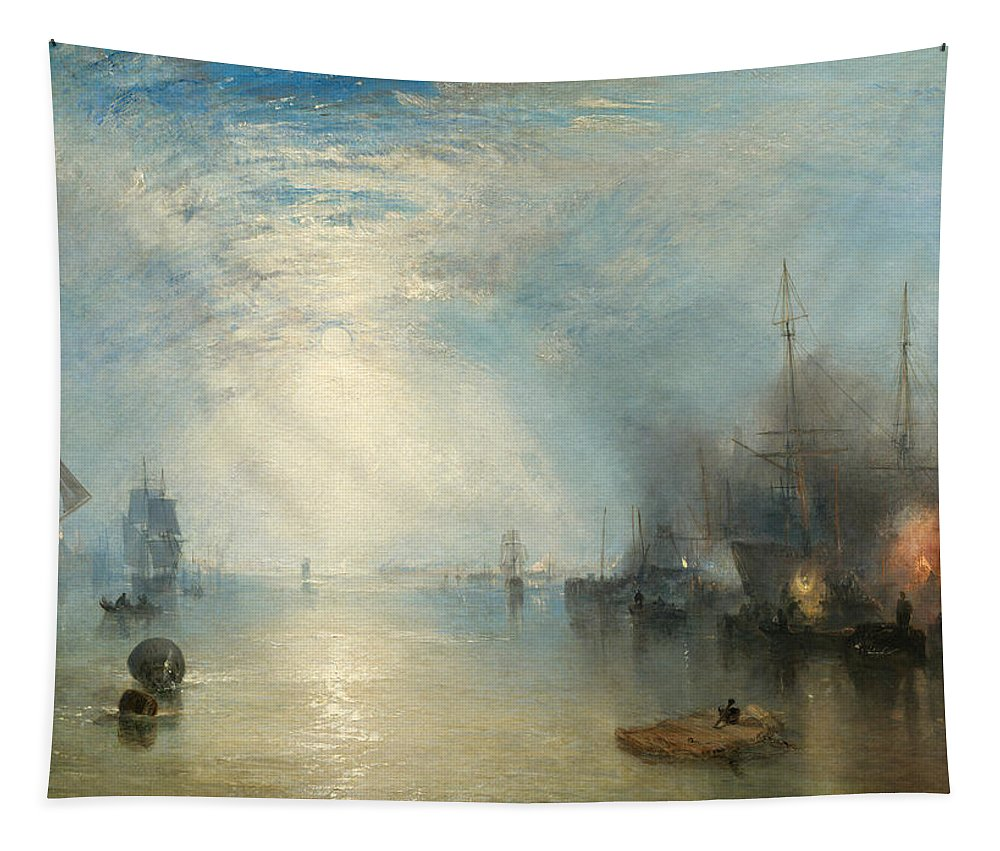 Shipping; Industry; Coal; Fire; Night; Moon; Sailing; Sail; Boat; Burning; Coal; Kealboat; Keels; Cargo Tapestry featuring the painting Keelmen Heaving In Coals By Moonlight by Joseph Mallord William Turner