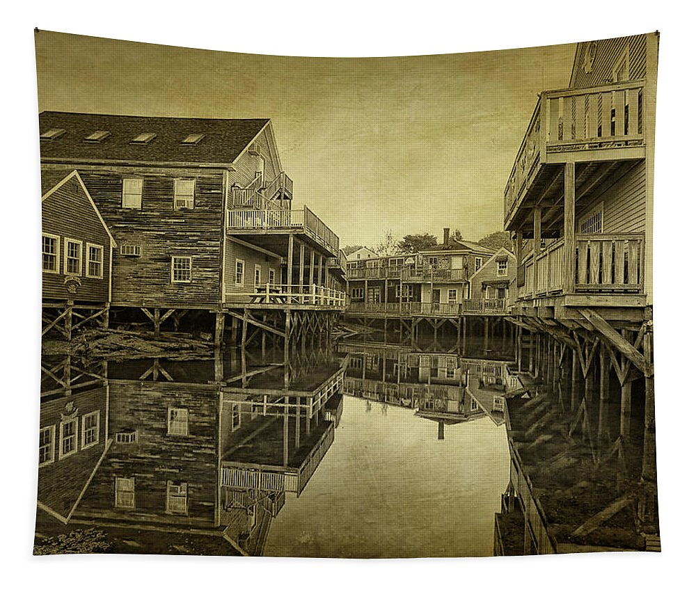 Kennebunkport Dock Square Tapestry featuring the photograph Kennebunkport Dock Square by Priscilla Burgers